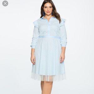 Eloquii Shirtdress w/ Point D'Esprit Overlay NWOT